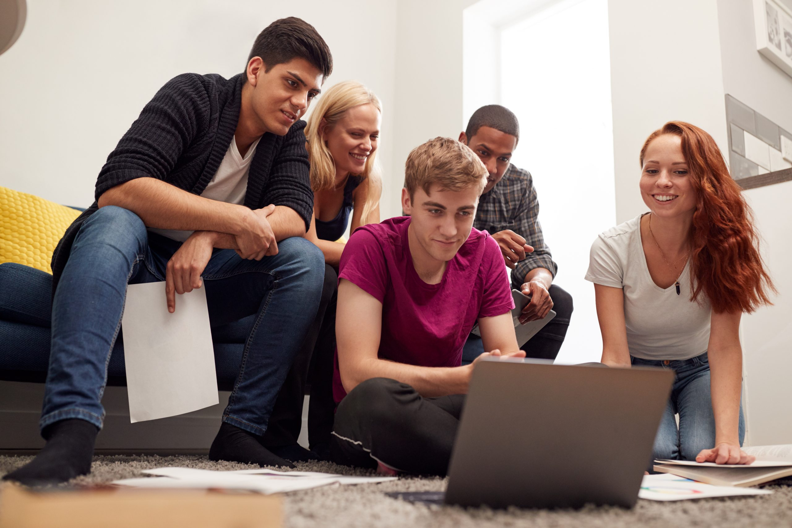 Group Of College Students In Lounge
