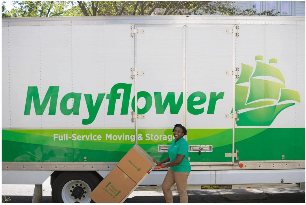 Mayflower truck unloading