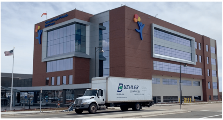 Buehler truck in front of hospital